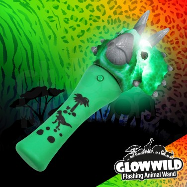 Triceratops Mini Flashing Animal Wand 7""
