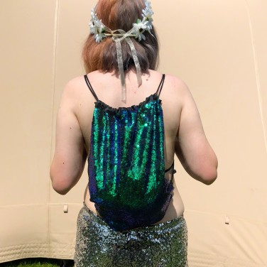 Green Sequin Drawstring Backpack