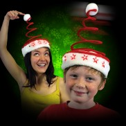 Flashing Springy Santa Party Hat